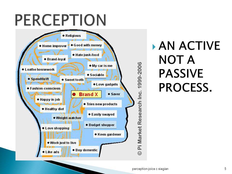  Persepsi terjadi dalam benak individu yang mempersepsi, bukan dalam obyek dan selalu merupakan pengetahuan tentang penampakan.