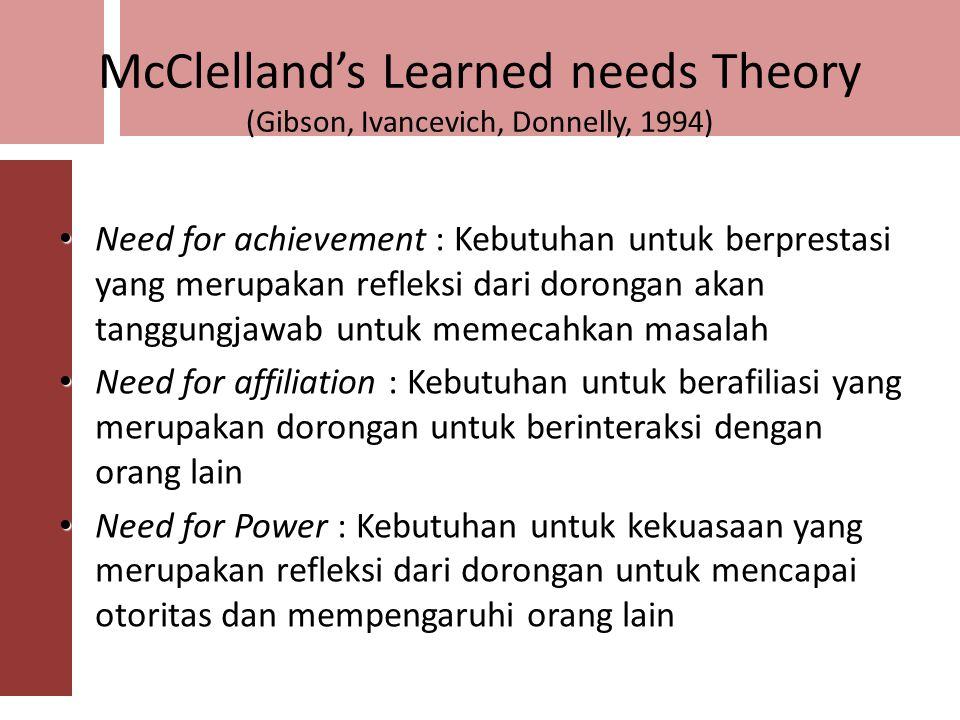 Alderfer's ERG Theory (Luthans 9 th, 2002) Existence needs Existence needs : Kebutuhan yang berhubungan dengan eksistensi pegawai (Makan, minum, pakai