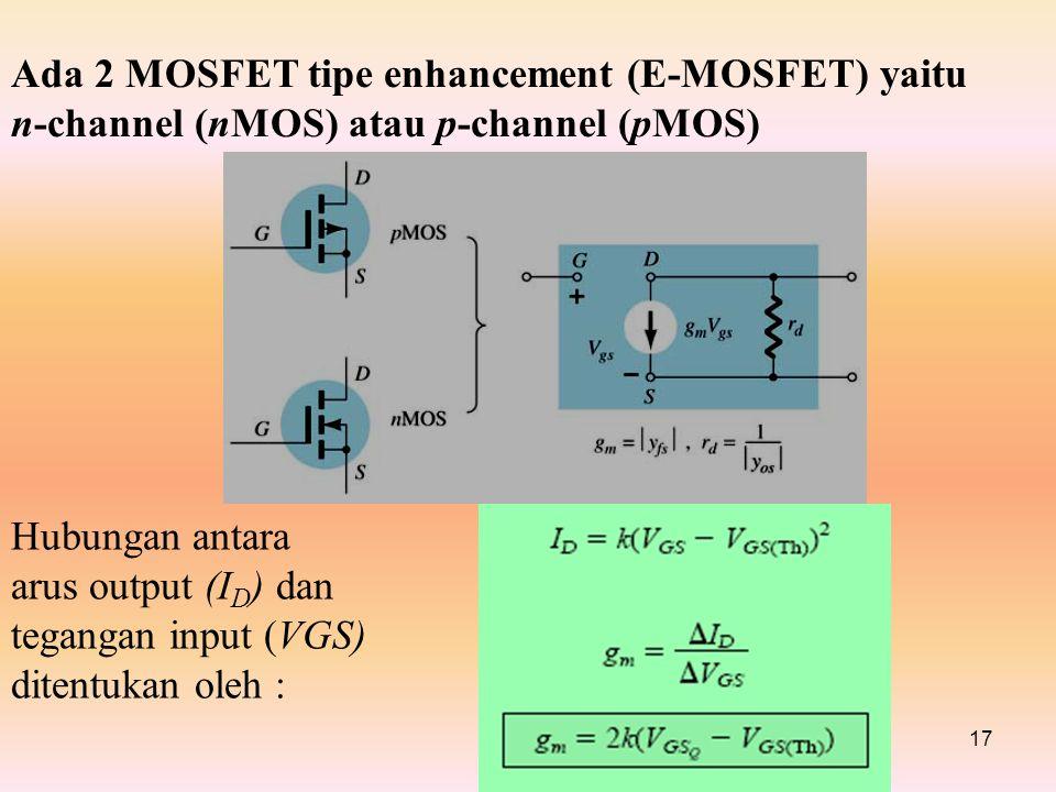 17 Ada 2 MOSFET tipe enhancement (E-MOSFET) yaitu n-channel (nMOS) atau p-channel (pMOS) Hubungan antara arus output (I D ) dan tegangan input (VGS) ditentukan oleh :