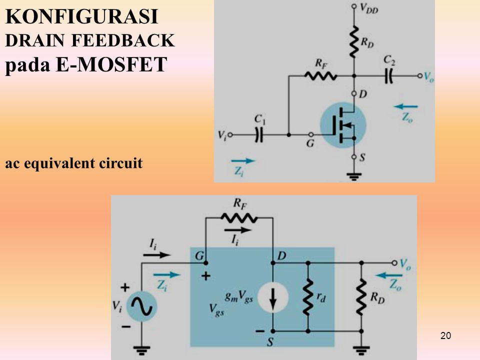 20 KONFIGURASI DRAIN FEEDBACK pada E-MOSFET ac equivalent circuit