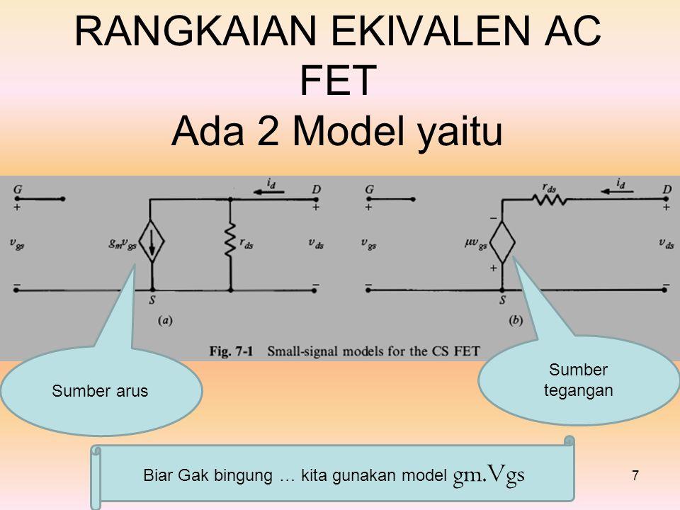 RANGKAIAN EKIVALEN AC FET Ada 2 Model yaitu 7 Sumber arus Sumber tegangan Biar Gak bingung … kita gunakan model gm.Vgs