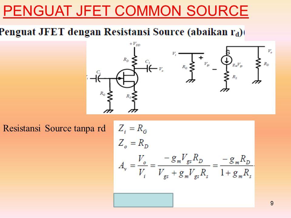9 PENGUAT JFET COMMON SOURCE Resistansi Source tanpa rd
