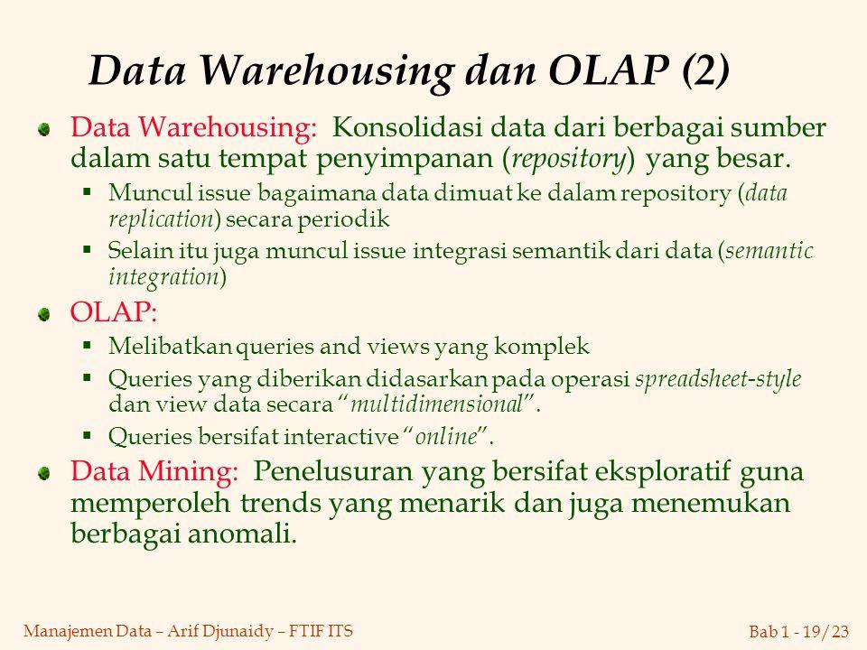 Bab 1 - 19/23 Manajemen Data – Arif Djunaidy – FTIF ITS Data Warehousing: Konsolidasi data dari berbagai sumber dalam satu tempat penyimpanan ( reposi