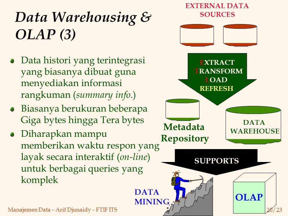 Bab 1 - 20/23 Manajemen Data – Arif Djunaidy – FTIF ITS Data Warehousing & OLAP (3) Data histori yang terintegrasi yang biasanya dibuat guna menyediak