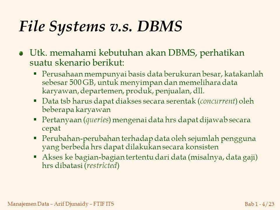 Bab 1 - 4/23 Manajemen Data – Arif Djunaidy – FTIF ITS File Systems v.s. DBMS Utk. memahami kebutuhan akan DBMS, perhatikan suatu skenario berikut: 