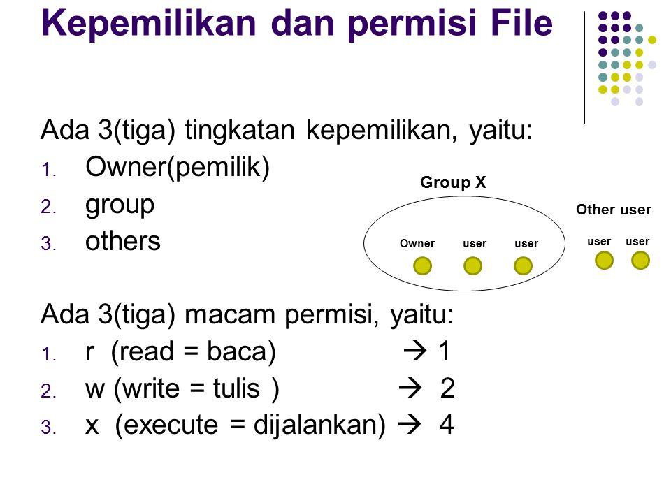 Kepemilikan dan permisi File Ada 3(tiga) tingkatan kepemilikan, yaitu: 1.