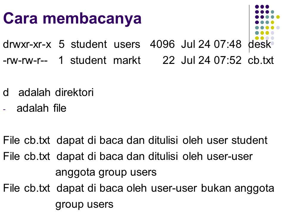 Cara membacanya drwxr-xr-x 5 student users 4096 Jul 24 07:48 desk -rw-rw-r-- 1 student markt 22 Jul 24 07:52 cb.txt d adalah direktori - adalah file File cb.txt dapat di baca dan ditulisi oleh user student File cb.txt dapat di baca dan ditulisi oleh user-user anggota group users File cb.txt dapat di baca oleh user-user bukan anggota group users