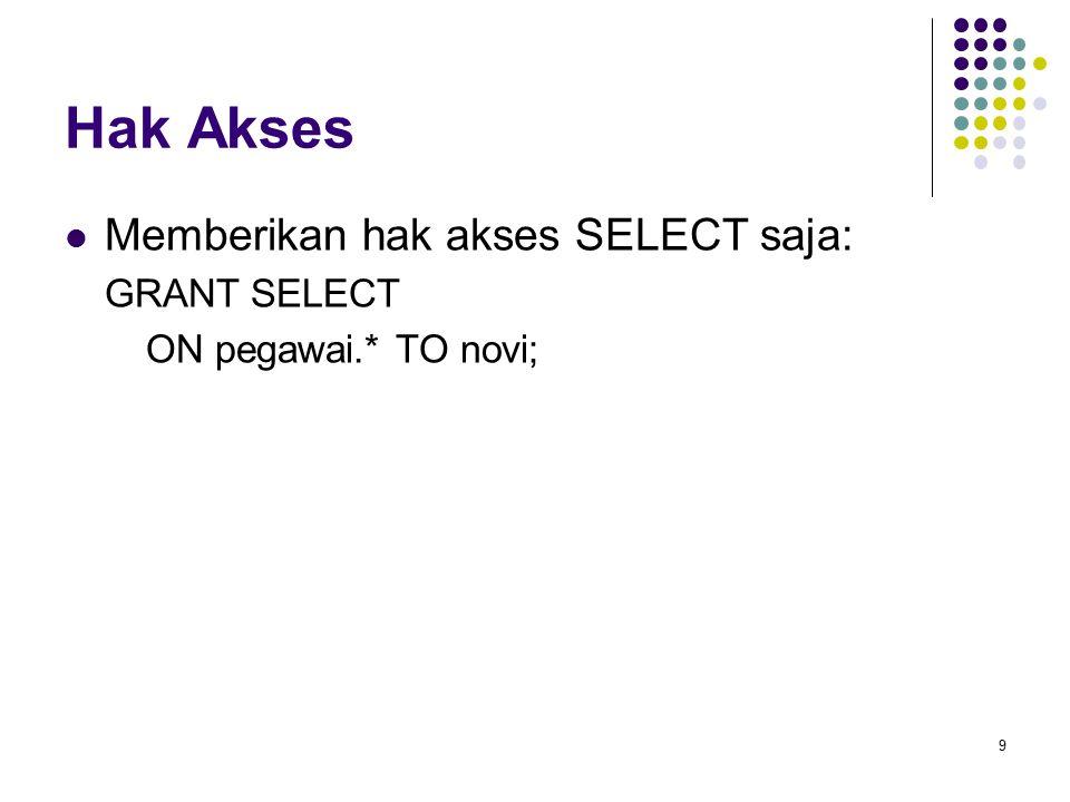 Hak Akses Memberikan hak akses SELECT saja: GRANT SELECT ON pegawai.* TO novi; 9