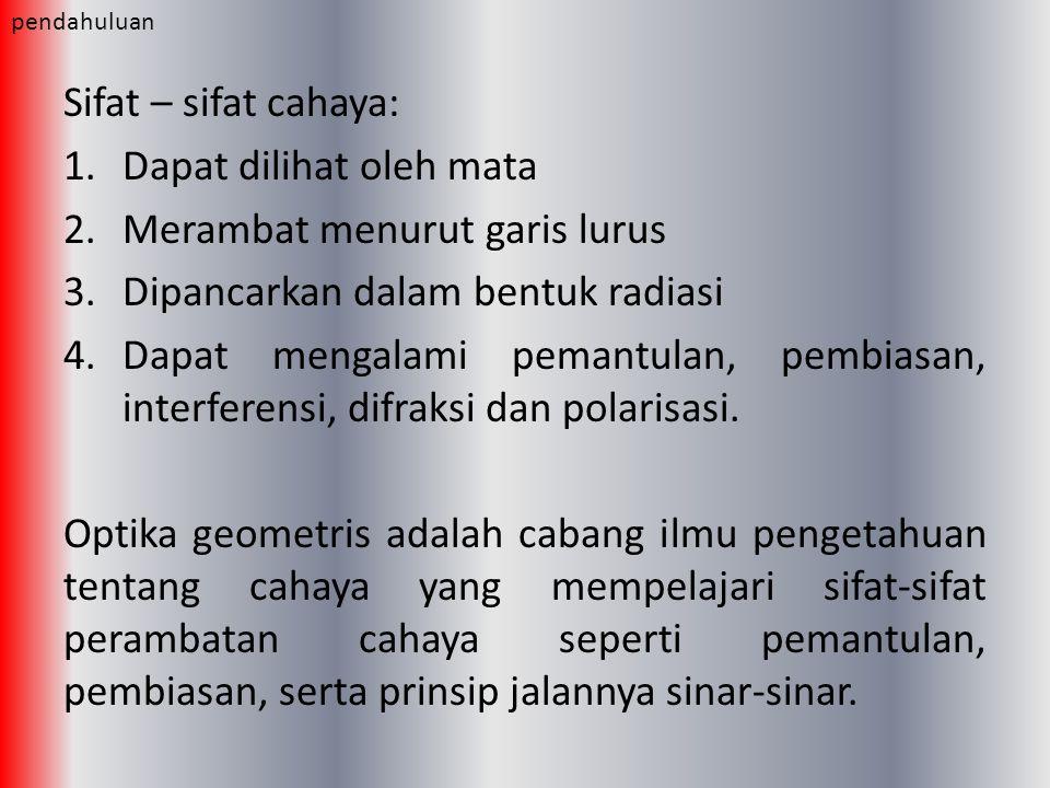 Sifat – sifat cahaya: 1.Dapat dilihat oleh mata 2.Merambat menurut garis lurus 3.Dipancarkan dalam bentuk radiasi 4.Dapat mengalami pemantulan, pembia
