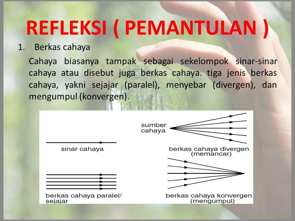 REFLEKSI ( PEMANTULAN ) 1.Berkas cahaya Cahaya biasanya tampak sebagai sekelompok sinar-sinar cahaya atau disebut juga berkas cahaya. tiga jenis berka