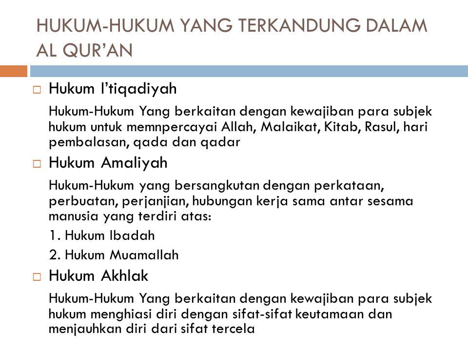 Secara garis besar Al-Qur'an memuat soal-soal yang berkenaan dengan: 1. Akidah 2. Syariah 1. Ibadah 2. Muamalah 3. Akhlak 4. Kisah-Kisah umat manusia
