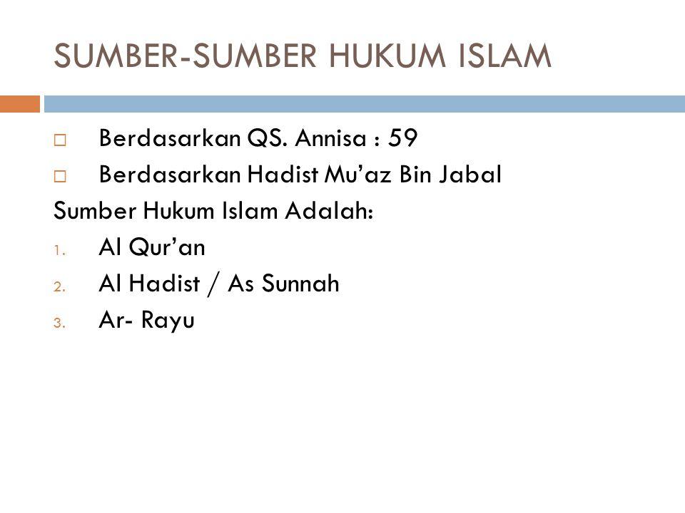  Tujuan Instruksional Umum:  Agar mahasiswa memahami Sumber-Sumber Hukum Islam  Tujuan Instruksional Khusus:  Agar Mahasiswa dapat menjelaskan Das
