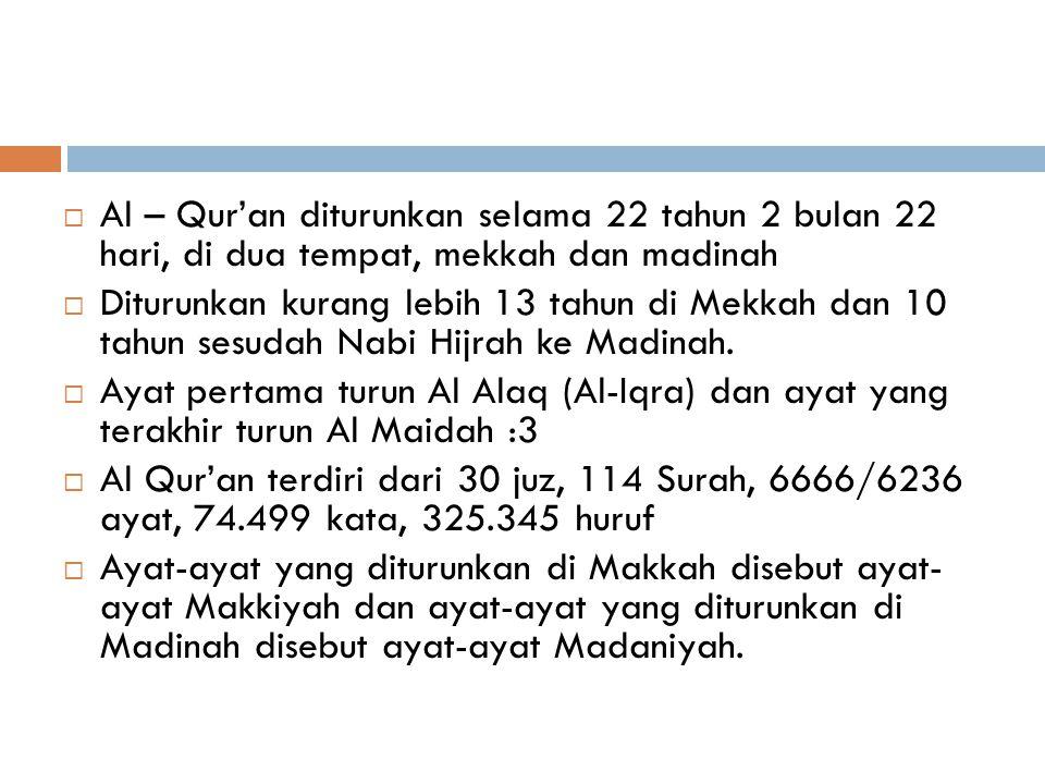 AL QUR'AN  Al – Qur'an berasal dari kata kerja qara-a (membaca), dalam kata kerja menjadi Iqra (bacalah) dalam kata benda qur'an (bacaan)  Al-Qur'an