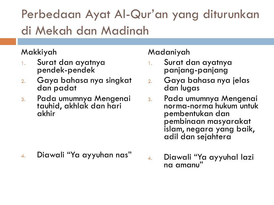  Al – Qur'an diturunkan selama 22 tahun 2 bulan 22 hari, di dua tempat, mekkah dan madinah  Diturunkan kurang lebih 13 tahun di Mekkah dan 10 tahun