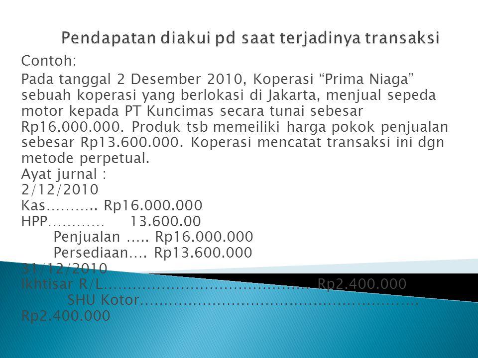 """Contoh: Pada tanggal 2 Desember 2010, Koperasi """"Prima Niaga"""" sebuah koperasi yang berlokasi di Jakarta, menjual sepeda motor kepada PT Kuncimas secara"""