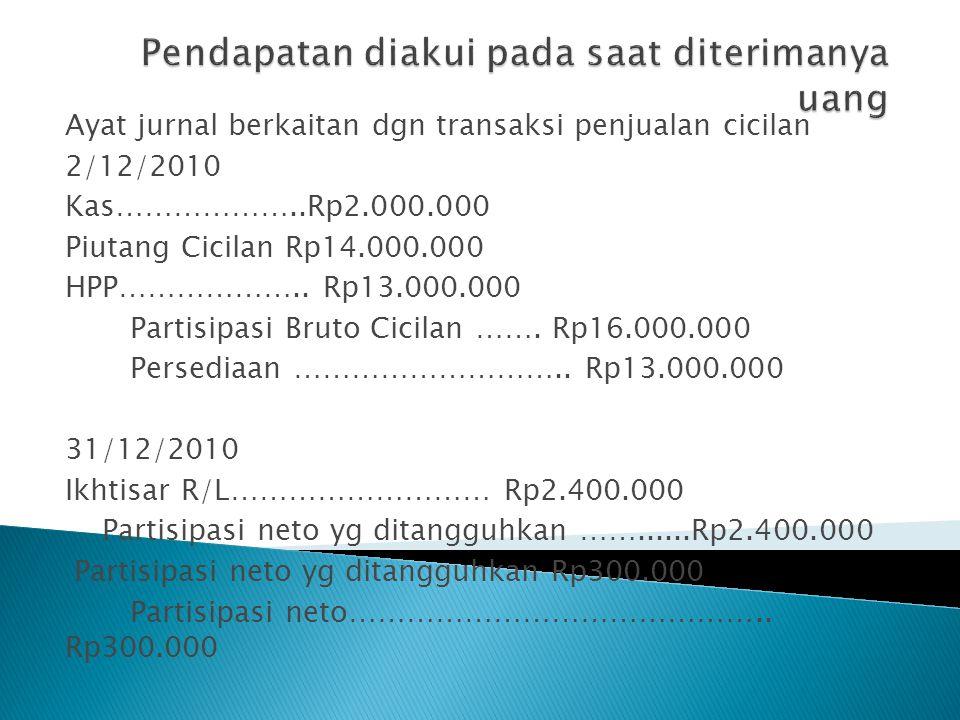 Ayat jurnal berkaitan dgn transaksi penjualan cicilan 2/12/2010 Kas………………..Rp2.000.000 Piutang Cicilan Rp14.000.000 HPP……………….. Rp13.000.000 Partisipa