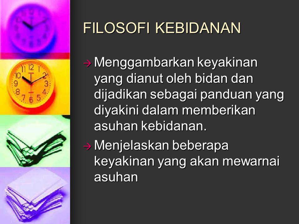 FILOSOFI KEBIDANAN  Menggambarkan keyakinan yang dianut oleh bidan dan dijadikan sebagai panduan yang diyakini dalam memberikan asuhan kebidanan.  M