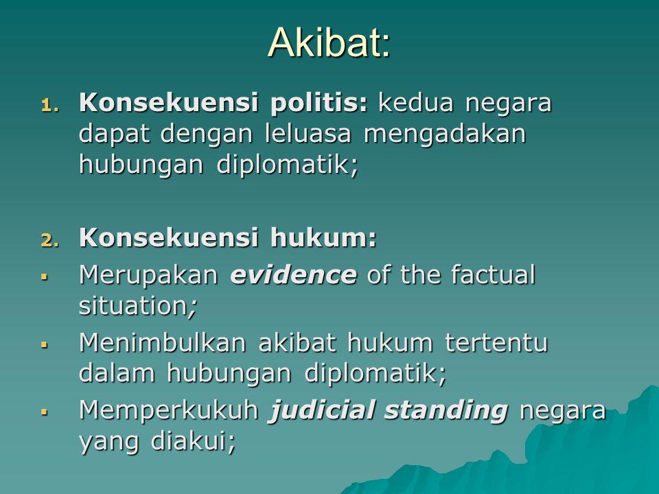 Akibat: 1. Konsekuensi politis: kedua negara dapat dengan leluasa mengadakan hubungan diplomatik; 2. Konsekuensi hukum:  Merupakan evidence of the fa