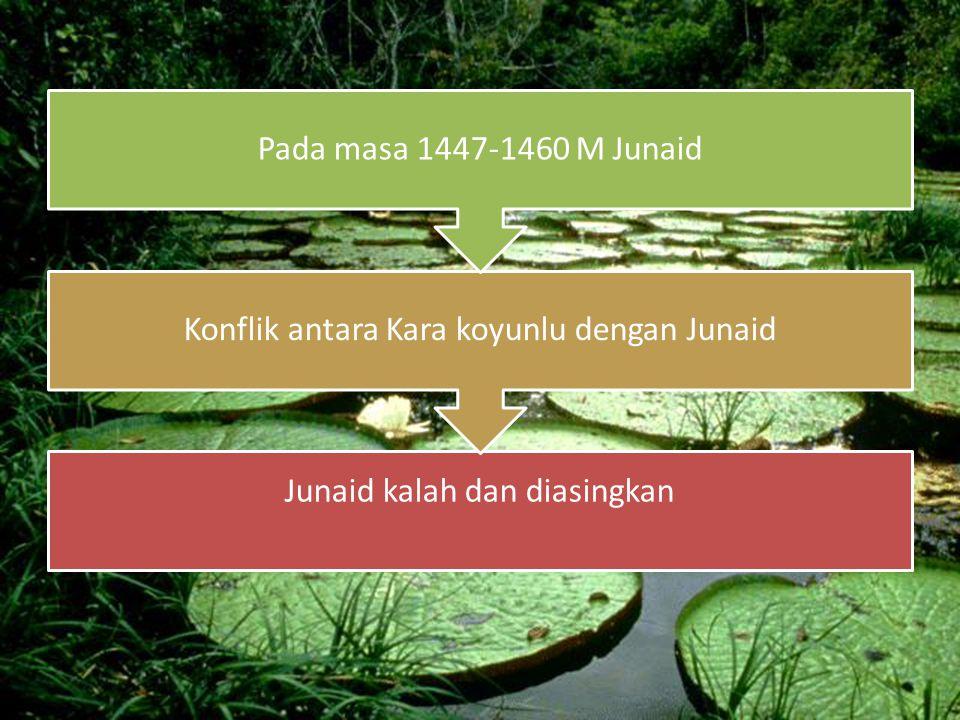Junaid kalah dan diasingkan Konflik antara Kara koyunlu dengan Junaid Pada masa 1447-1460 M Junaid