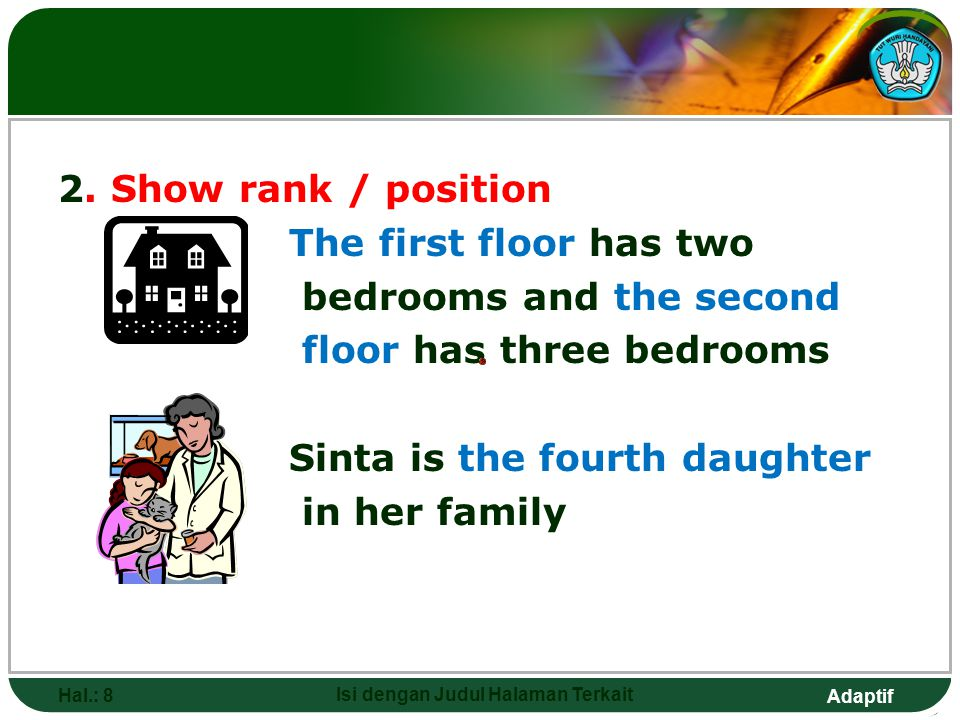 Adaptif 2. Show rank / position The first floor has two bedrooms and the second floor has three bedrooms Sinta is the fourth daughter in her family Ha