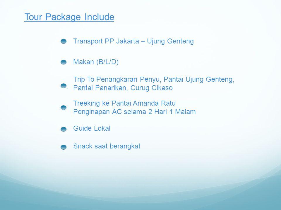 Tour Package Include Transport PP Jakarta – Ujung Genteng Makan (B/L/D) Trip To Penangkaran Penyu, Pantai Ujung Genteng, Pantai Panarikan, Curug Cikaso Treeking ke Pantai Amanda Ratu Penginapan AC selama 2 Hari 1 Malam Guide Lokal Snack saat berangkat