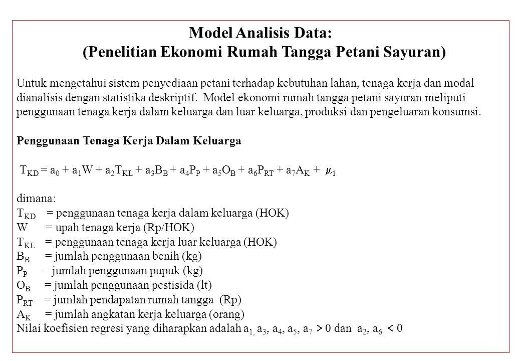 Model Analisis Data: (Penelitian Ekonomi Rumah Tangga Petani Sayuran) Untuk mengetahui sistem penyediaan petani terhadap kebutuhan lahan, tenaga kerja