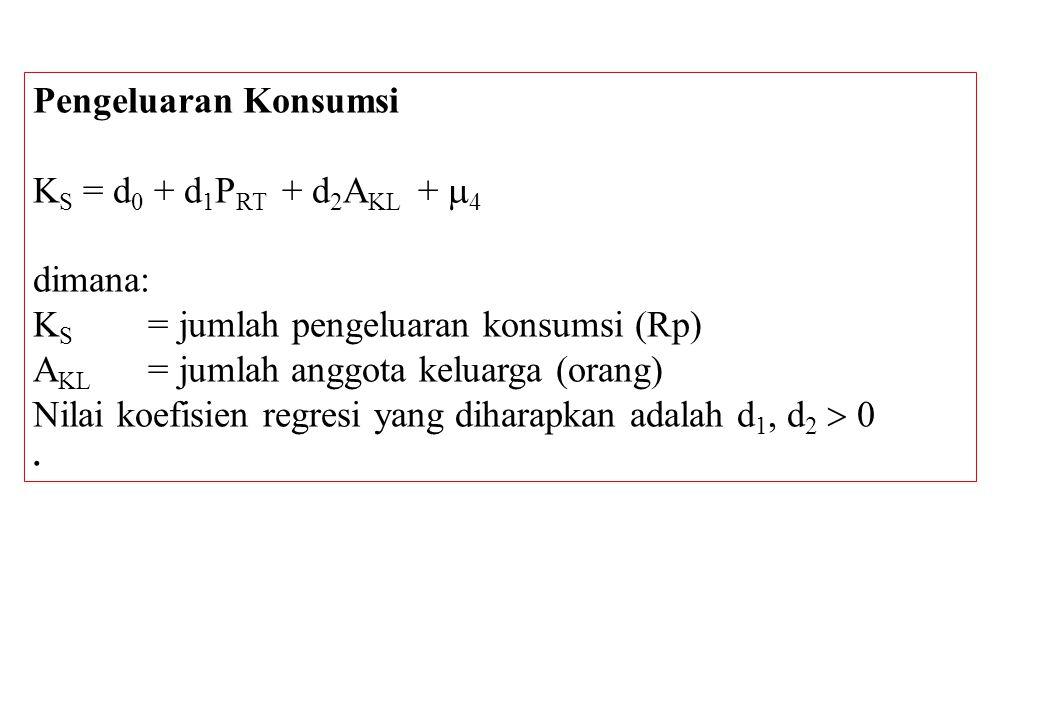 Pengeluaran Konsumsi K S = d 0 + d 1 P RT + d 2 A KL +  4 dimana: K S = jumlah pengeluaran konsumsi (Rp) A KL = jumlah anggota keluarga (orang) Nilai