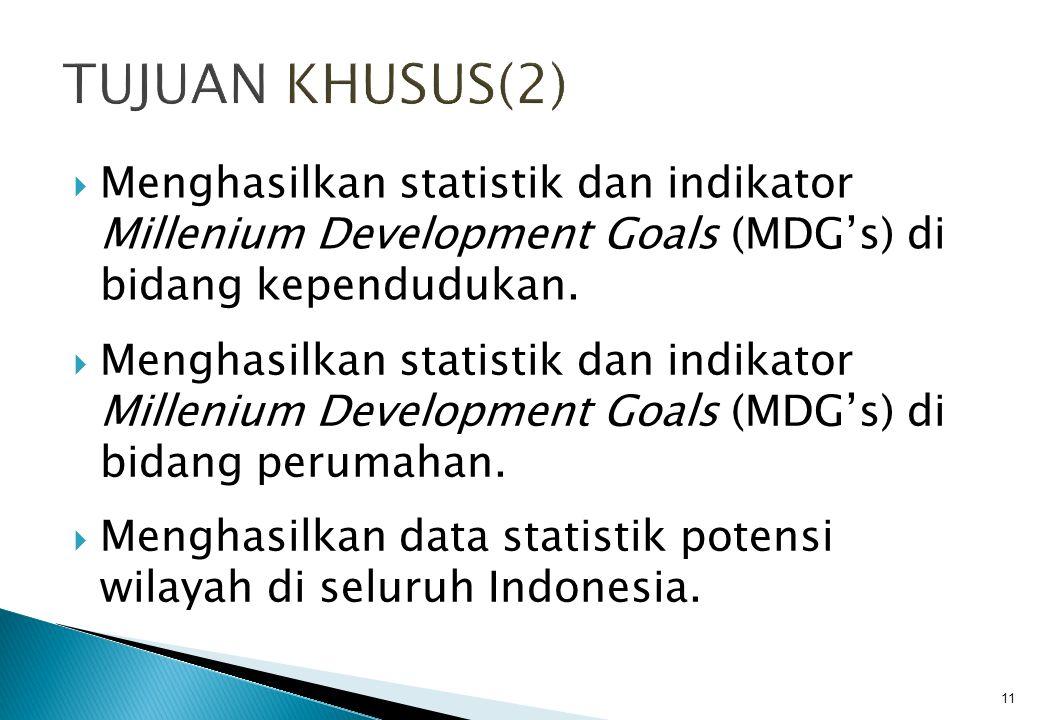  Menghasilkan statistik dan indikator Millenium Development Goals (MDG's) di bidang kependudukan.