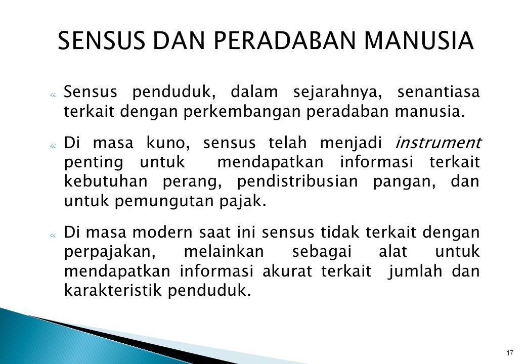17 SENSUS DAN PERADABAN MANUSIA « Sensus penduduk, dalam sejarahnya, senantiasa terkait dengan perkembangan peradaban manusia.