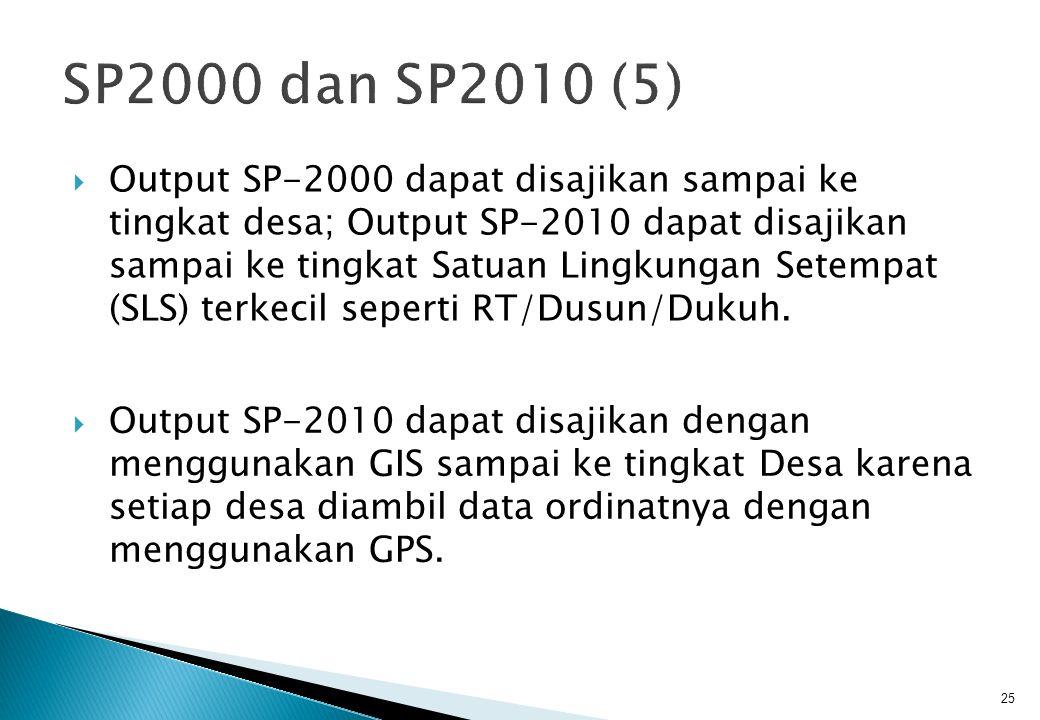  Output SP-2000 dapat disajikan sampai ke tingkat desa; Output SP-2010 dapat disajikan sampai ke tingkat Satuan Lingkungan Setempat (SLS) terkecil seperti RT/Dusun/Dukuh.
