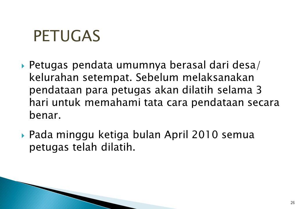  Petugas pendata umumnya berasal dari desa/ kelurahan setempat.