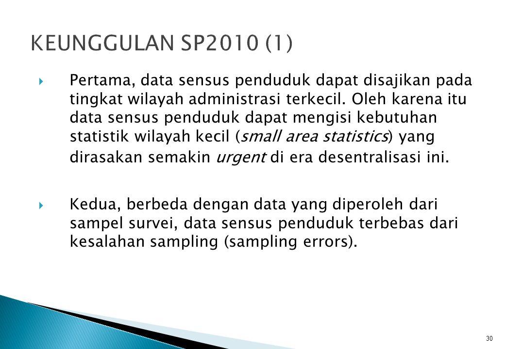 KEUNGGULAN SP2010 (1)  Pertama, data sensus penduduk dapat disajikan pada tingkat wilayah administrasi terkecil.