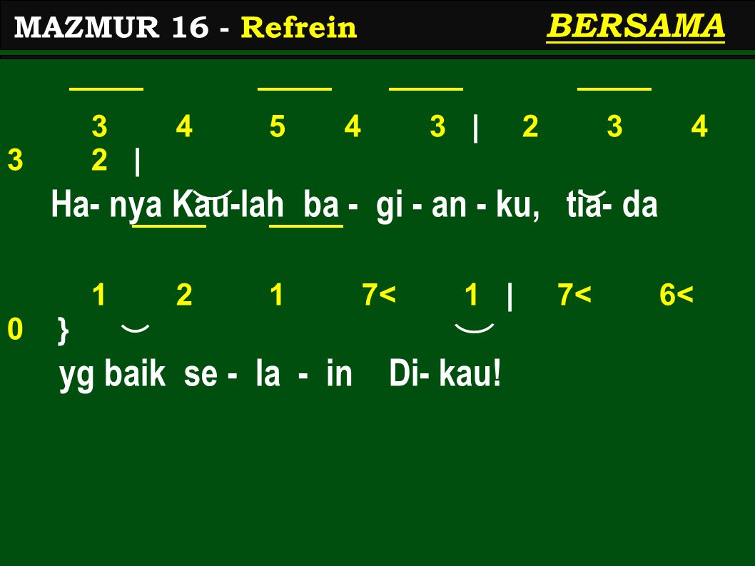 1 2 3 4 3 | 2 1 2.| Ja - ga a - ku, ya, Al - lah 1 2 3 4 5 | 2 2.
