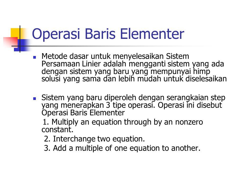 Operasi Baris Elementer Metode dasar untuk menyelesaikan Sistem Persamaan Linier adalah mengganti sistem yang ada dengan sistem yang baru yang mempunyai himp solusi yang sama dan lebih mudah untuk diselesaikan Sistem yang baru diperoleh dengan serangkaian step yang menerapkan 3 tipe operasi.