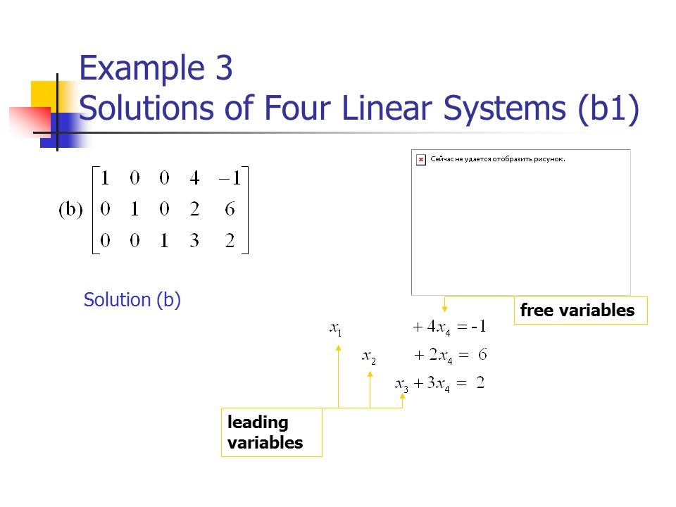 Example 3 Solutions of Four Linear Systems (b1) Solution (b) leading variables free variables
