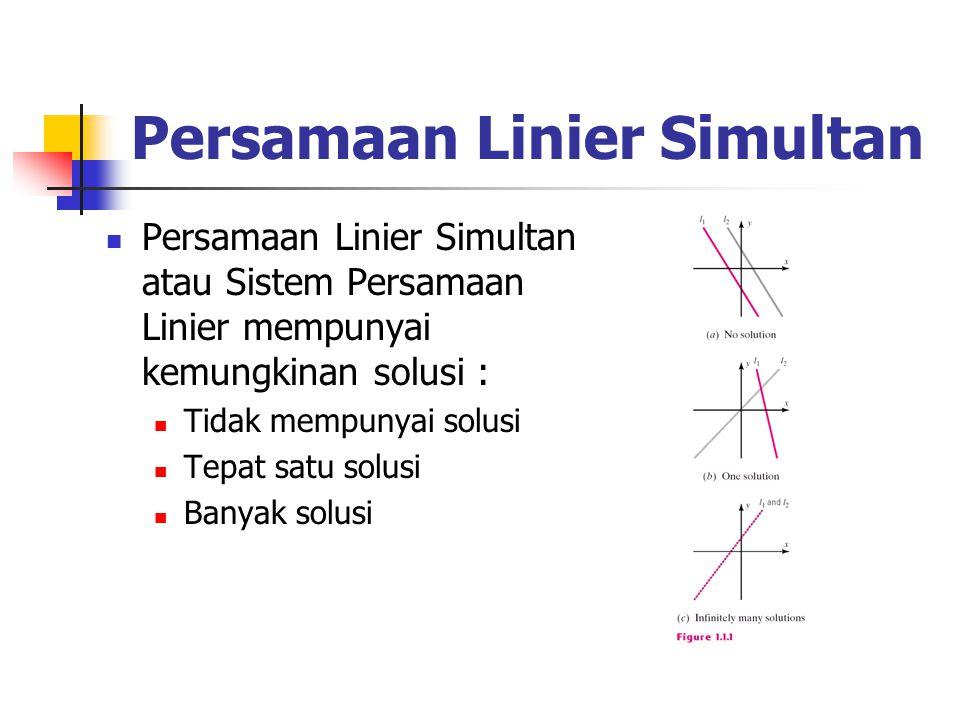 Persamaan Linier Simultan Persamaan Linier Simultan atau Sistem Persamaan Linier mempunyai kemungkinan solusi : Tidak mempunyai solusi Tepat satu solusi Banyak solusi