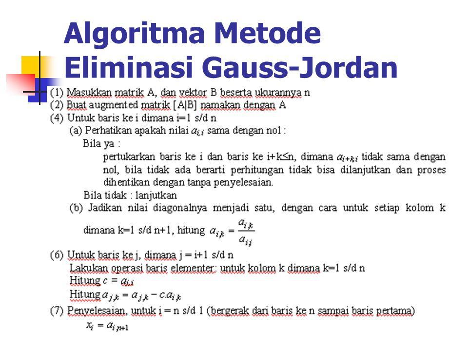 Algoritma Metode Eliminasi Gauss-Jordan