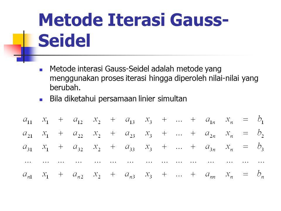 Metode Iterasi Gauss- Seidel Metode interasi Gauss-Seidel adalah metode yang menggunakan proses iterasi hingga diperoleh nilai-nilai yang berubah.