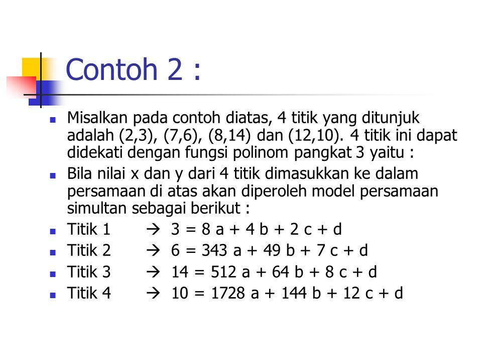 Contoh 2 : Misalkan pada contoh diatas, 4 titik yang ditunjuk adalah (2,3), (7,6), (8,14) dan (12,10). 4 titik ini dapat didekati dengan fungsi polino