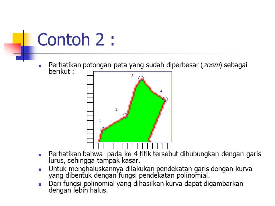 Contoh 2 : Perhatikan potongan peta yang sudah diperbesar (zoom) sebagai berikut : Perhatikan bahwa pada ke-4 titik tersebut dihubungkan dengan garis lurus, sehingga tampak kasar.