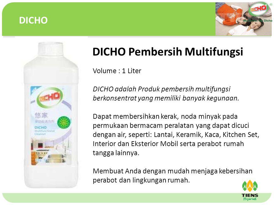单击此处编辑母版文本样式 第二级 第三级 第四级 第五级 DICHO Pembersih Multifungsi Volume : 1 Liter DICHO adalah Produk pembersih multifungsi berkonsentrat yang memiliki banyak kegunaan.