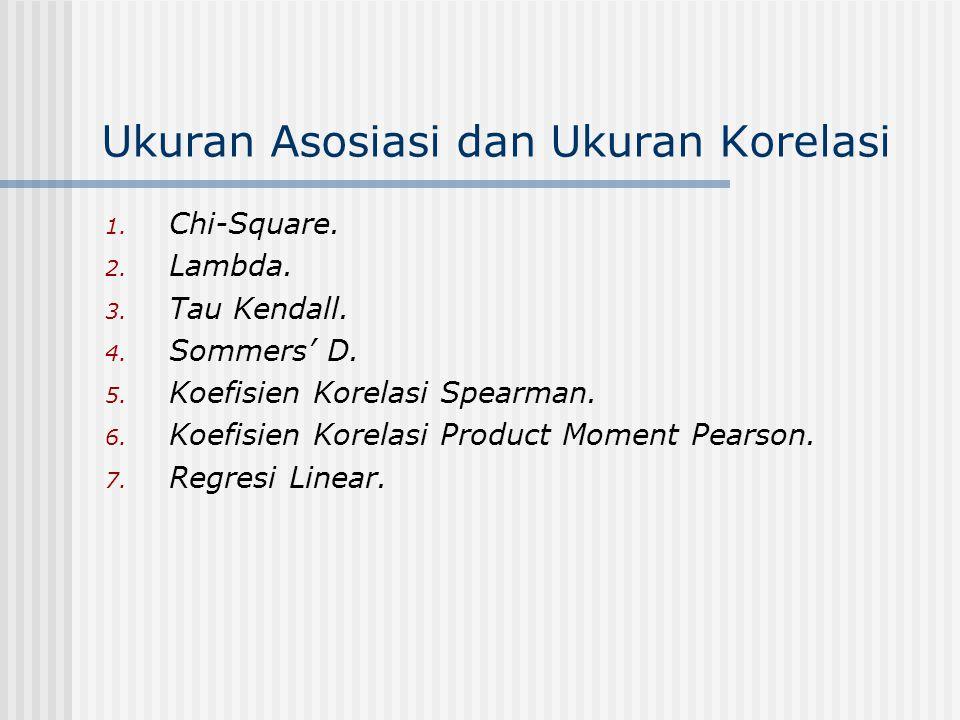 Ukuran Asosiasi dan Ukuran Korelasi 1. Chi-Square. 2. Lambda. 3. Tau Kendall. 4. Sommers' D. 5. Koefisien Korelasi Spearman. 6. Koefisien Korelasi Pro