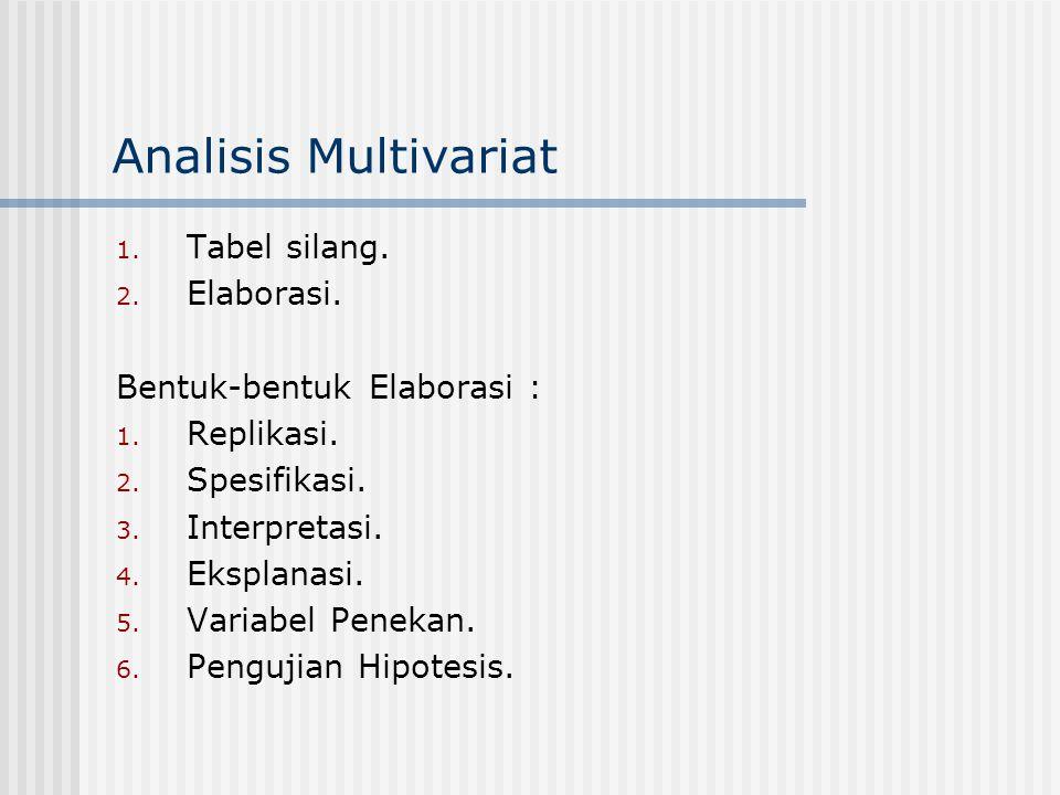 Analisis Multivariat 1. Tabel silang. 2. Elaborasi. Bentuk-bentuk Elaborasi : 1. Replikasi. 2. Spesifikasi. 3. Interpretasi. 4. Eksplanasi. 5. Variabe