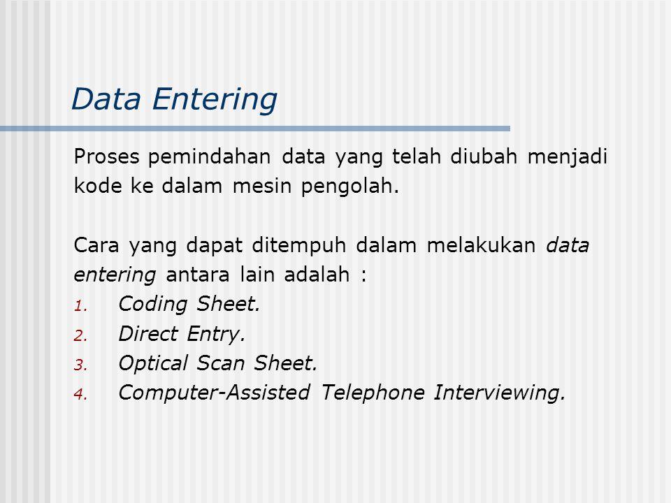 Data Entering Proses pemindahan data yang telah diubah menjadi kode ke dalam mesin pengolah. Cara yang dapat ditempuh dalam melakukan data entering an