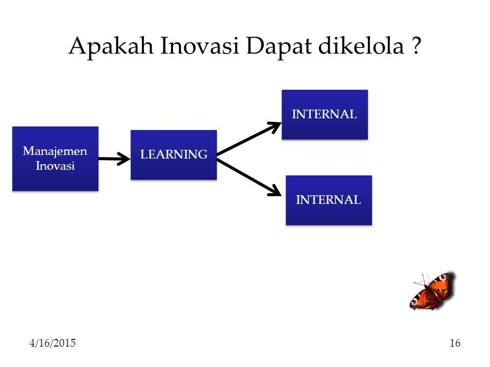 Apakah Inovasi Dapat dikelola ? 4/16/201516 Manajemen Inovasi LEARNING INTERNAL