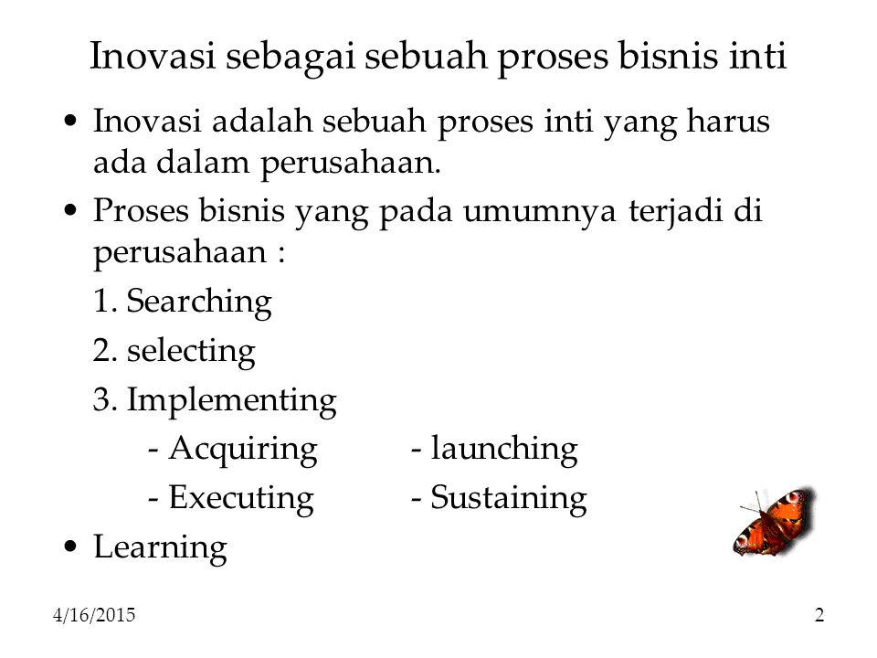 Inovasi sebagai sebuah proses bisnis inti Inovasi adalah sebuah proses inti yang harus ada dalam perusahaan. Proses bisnis yang pada umumnya terjadi d