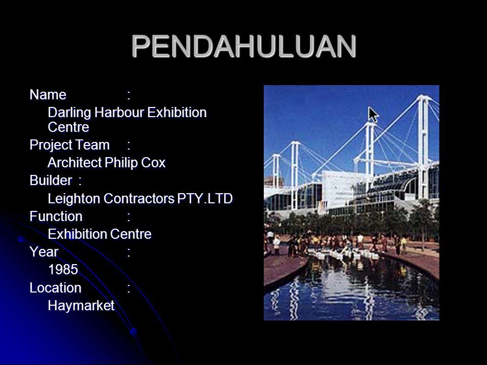 PENDAHULUAN Name: Darling Harbour Exhibition Centre Project Team: Architect Philip Cox Builder: Leighton Contractors PTY.LTD Function : Exhibition Cen