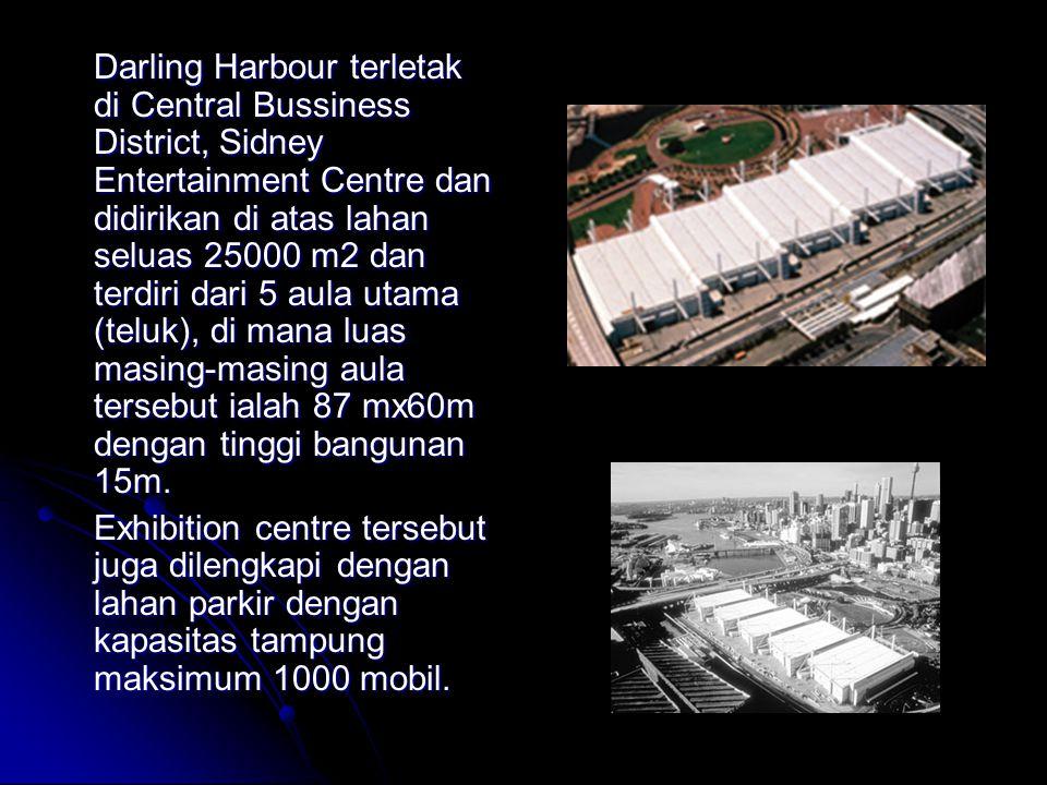 Darling Harbour terletak di Central Bussiness District, Sidney Entertainment Centre dan didirikan di atas lahan seluas 25000 m2 dan terdiri dari 5 aul
