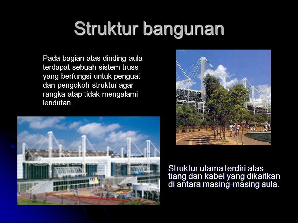 Struktur bangunan Struktur utama terdiri atas tiang dan kabel yang dikaitkan di antara masing-masing aula. Pada bagian atas dinding aula terdapat sebu