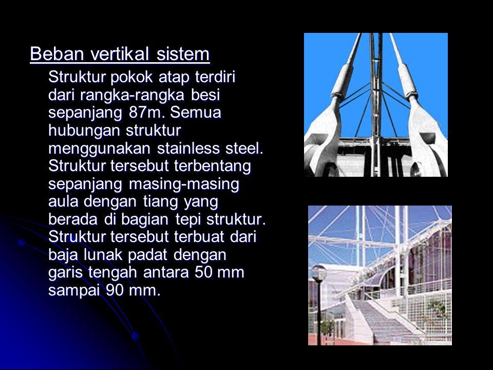 Beban vertikal sistem Struktur pokok atap terdiri dari rangka-rangka besi sepanjang 87m. Semua hubungan struktur menggunakan stainless steel. Struktur